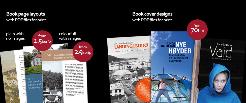 Book page layouts and cover design